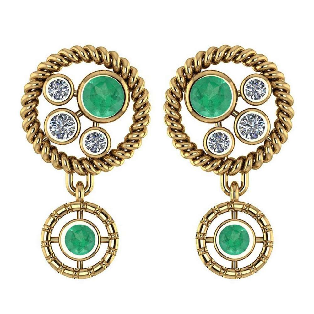 Certified 0.84 Ctw Emerald And Diamond Wedding/Engagement Style Stud Earrings 14K Yellow Gold #1AC17339