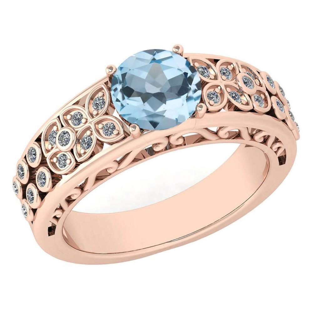 Certified 1.42 Ctw Aquamrine And Diamond Wedding/Engagement 14K Rose Gold Halo Ring (VS/SI1) #1AC17781