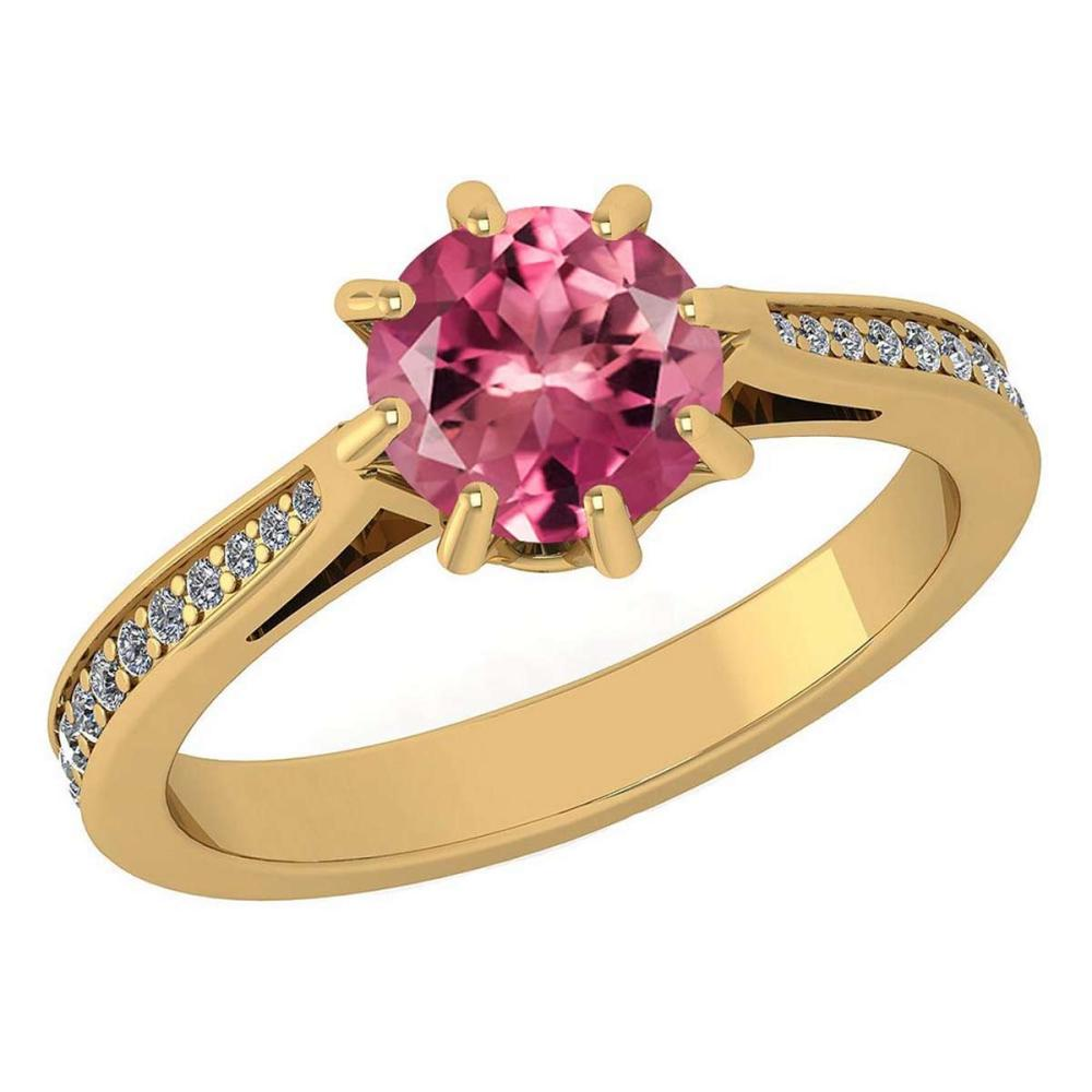 Certified 1.14 Ctw Pink Tourmline And White Diamond Wedding/Engagement 14K Yellow Gold Halo Ring #1AC17312