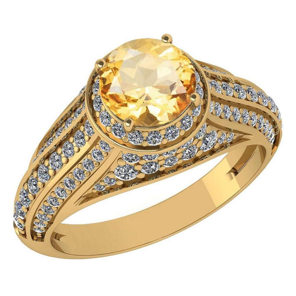 Certified 2.30 Ctw Citrine And Diamond Wedding/Engagement 14K Rose Gold Halo Ring #1AC17266