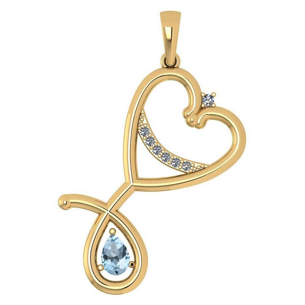 Certified 0.60 Ctw Aquamarine And Diamond Pendant For womens New Expressions Love collection 14K Yellow Gold #1AC17448