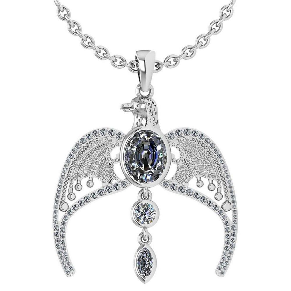 Certified 3.41 Ctw Diamond Eagle Necklace For womens New Expressions of Love collection 14K White Gold #1AC17220