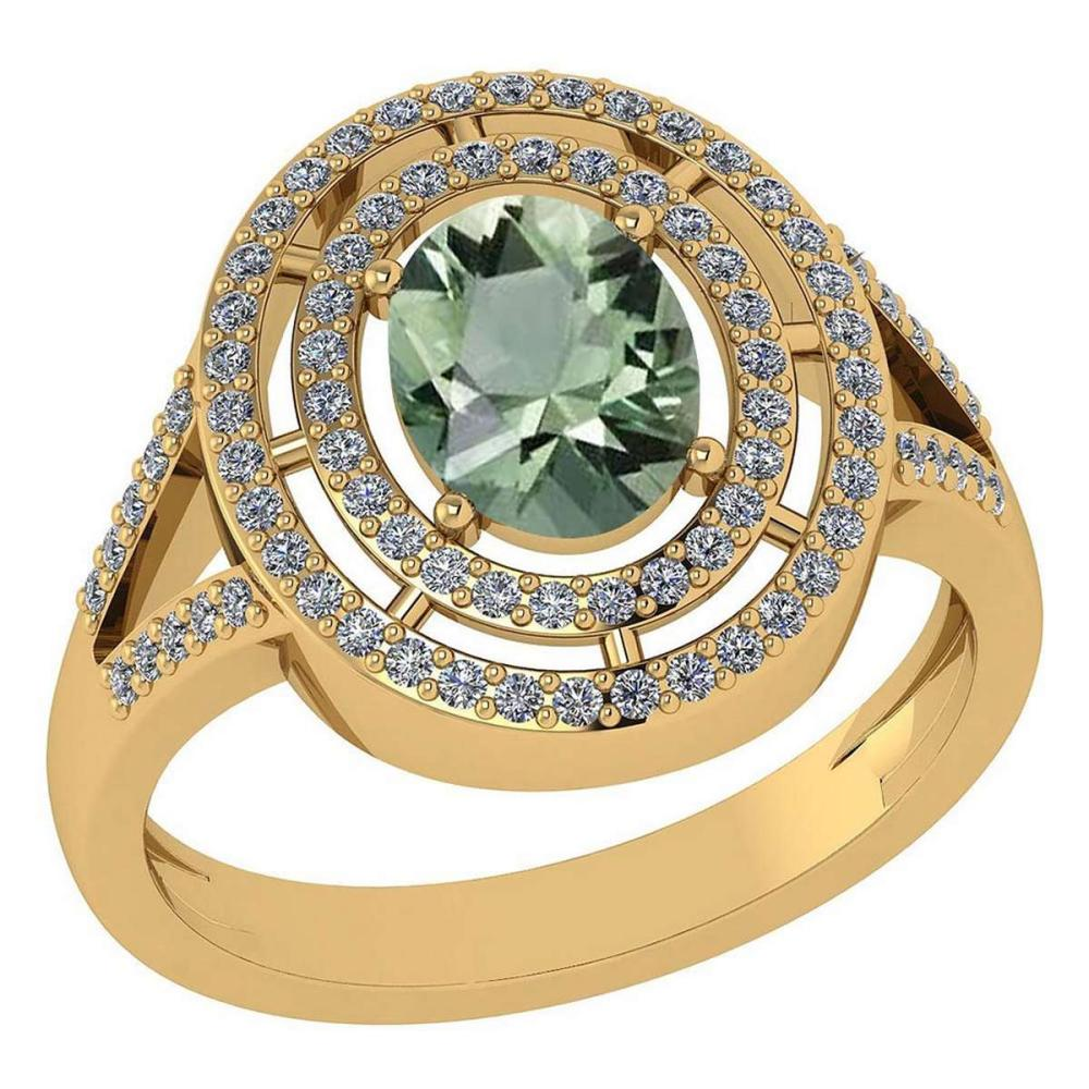 Certified 1.66 Ctw Green Amethyst And Diamond 14k Yellow Gold Halo Ring #1AC97919