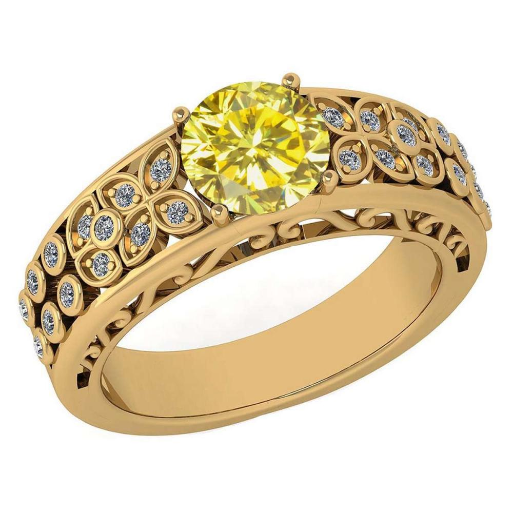 Certified 1.42 Ctw Treated Fancy Yellow Diamond And White G-H Diamond Wedding/Engagement 14K Yellow Gold Halo Ring #1AC17271