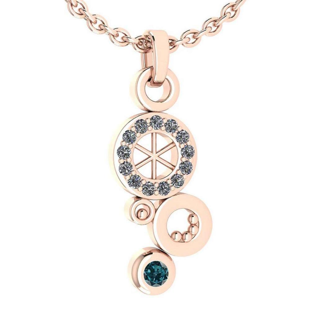 Certified 0.26 Ctw Treated Fancy Blue Diamond And White Diamond Octopus Styles Pendant For womens New Expressions nautical collection 14K Rose Gold #1AC17209