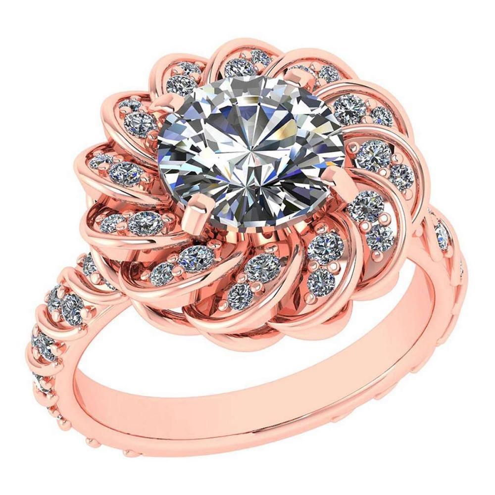 Certified 1.63 Ctw Diamond Wedding/Engagement 14K Rose Gold Halo Ring #1AC16970