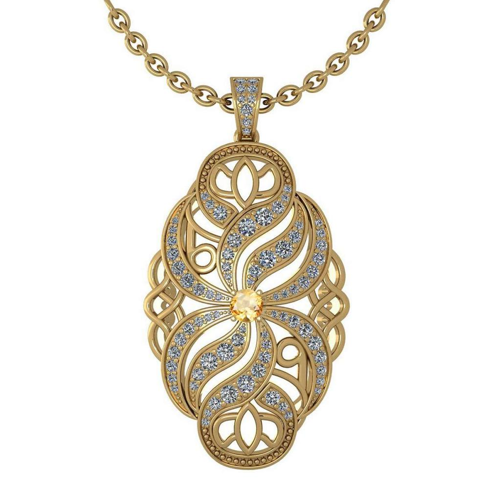 Certified 1.37 Ctw Citrine And Diamond Necklace For Styles Females 14k Yellow Gold (VS/SI1) #1AC17830