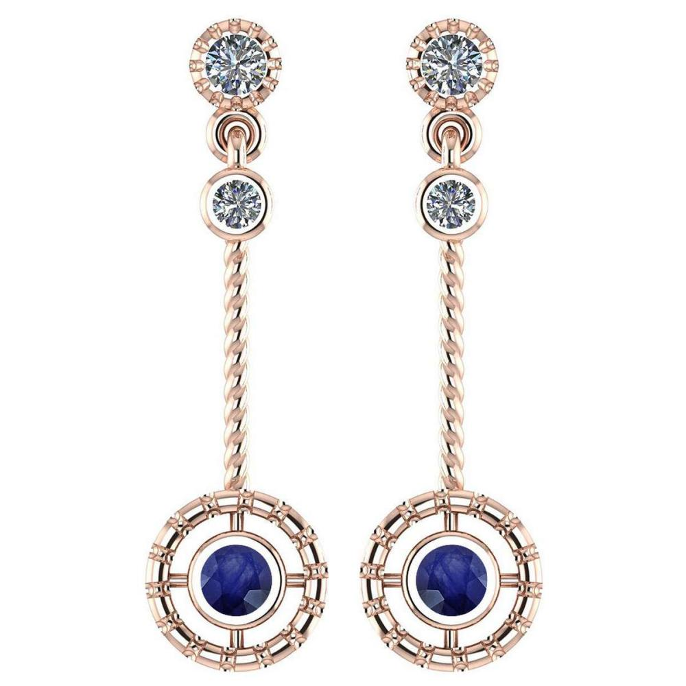 Certified 0.31 Ctw Blue Sapphire And Diamond Wedding/Engagement Style 14K Rose Gold Drop Earrings (SI2/I1) #1AC17810