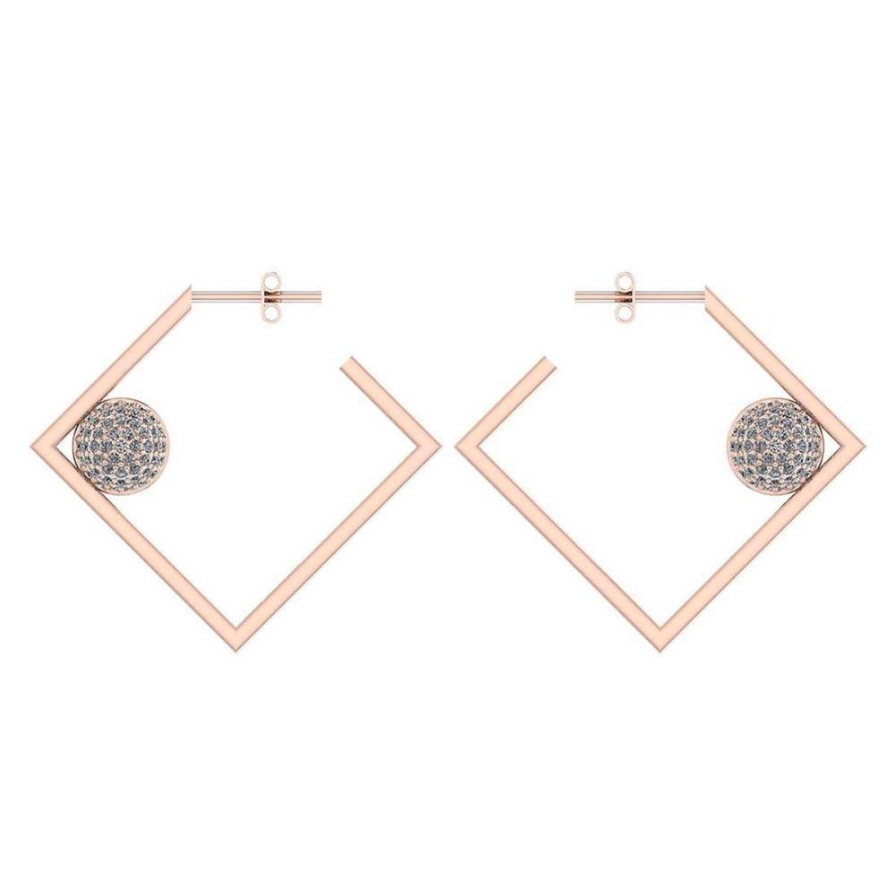 Certified 0.63 Ctw Diamond 14K Rose Gold Earrings #1AC17060