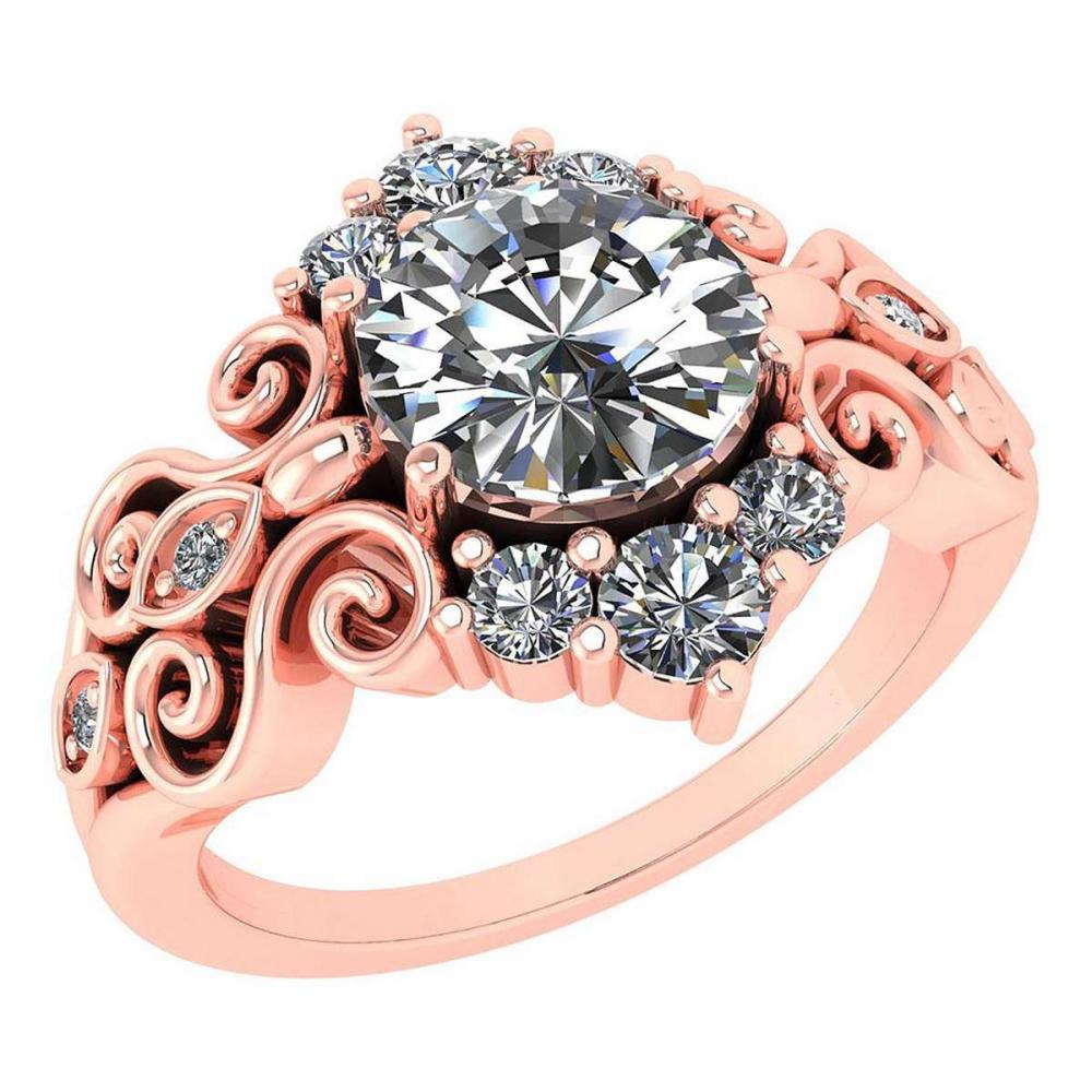 Certified 1.65 Ctw Diamond Wedding/Engagement 14K Rose Gold Halo Ring #1AC16973