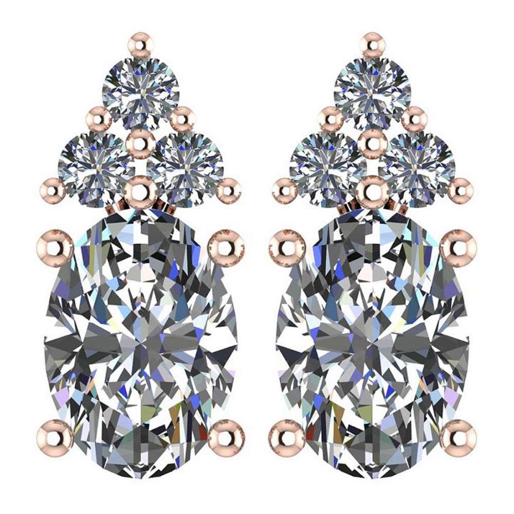 Certified 1.51 Ctw Diamond 14k Rose Gold Stud Earrings #1AC17076