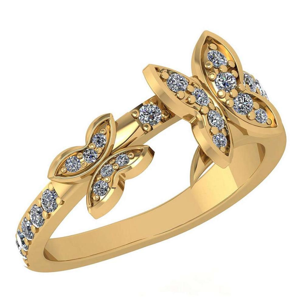 Certified 0.33 Ctw Diamond Halo Ring For womens New Expressions of Butterfly collection 14K Yellow Gold #1AC17249
