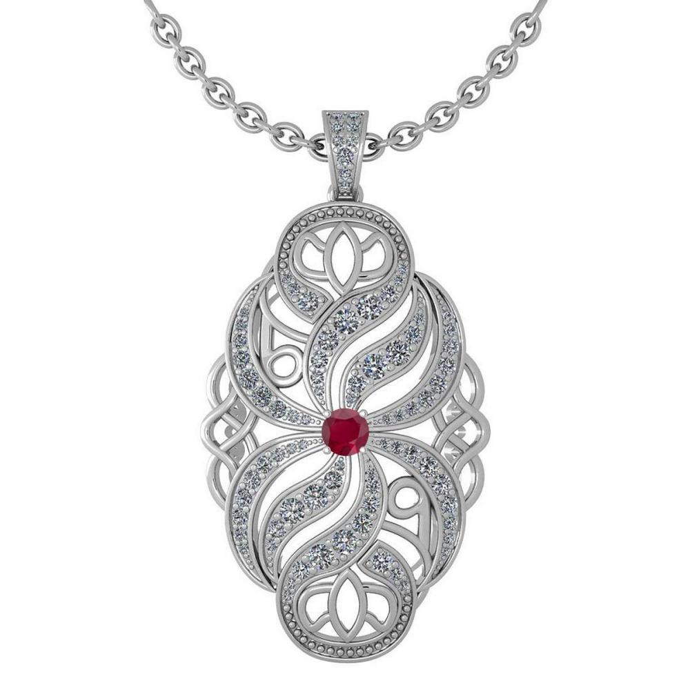Certified 1.37 Ctw Ruby And Diamond Necklace For Styles Females 14k White Gold (VS/SI1) #1AC17768