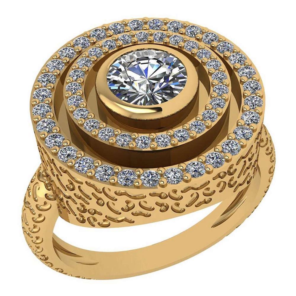 Certified 0.87 Ctw Diamond Wedding/Engagement 14K Yellow Gold Halo Ring #1AC16966