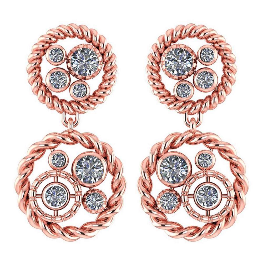 Certified 1.74 Ctw Diamond 14K Rose Gold Halo Stud Earrings #1AC17006