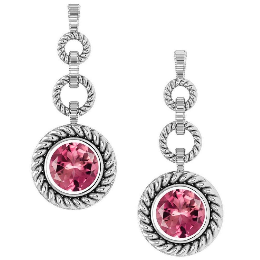 Certified 5.00 Ctw Pink Tourmaline Hanging Stud Earrings 14K White Gold #1AC17119