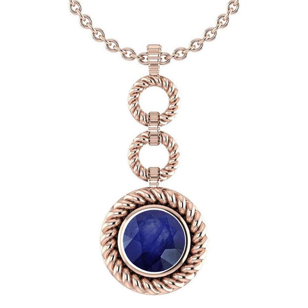 Certified 6.84 Ctw Blue Sapphire Necklace For womens New Expressions of Love collection 14K Rose Gold #1AC17199
