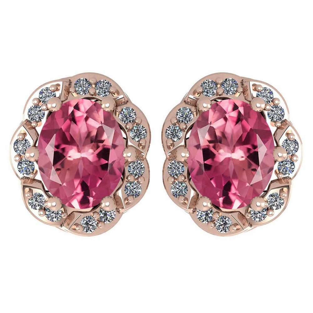 Certified 0.88 Ctw Pink Tourmaline And Diamond 14K Rose Gold Stud Earrings #1AC17302