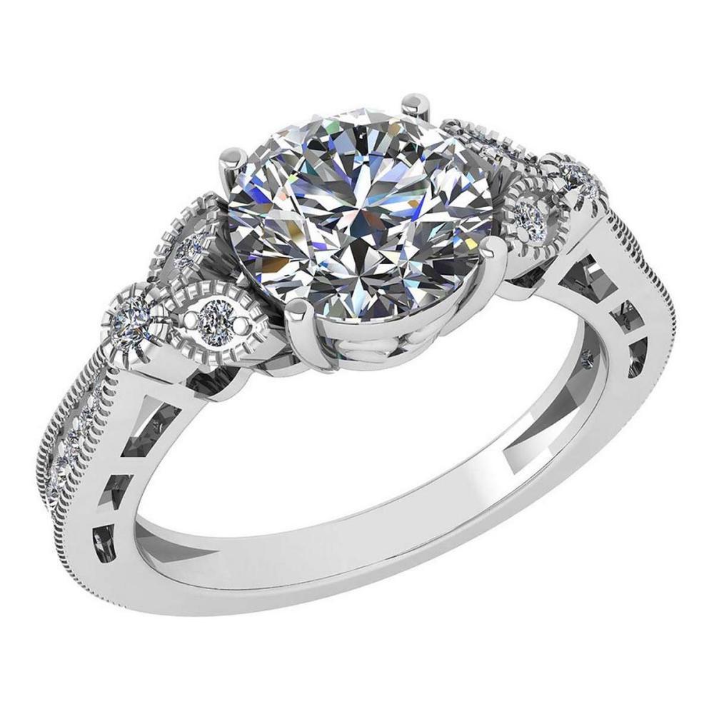 Certified 2.00 Ctw Diamond Engagement /Wedding 14K White Gold Promise Ring #1AC17046
