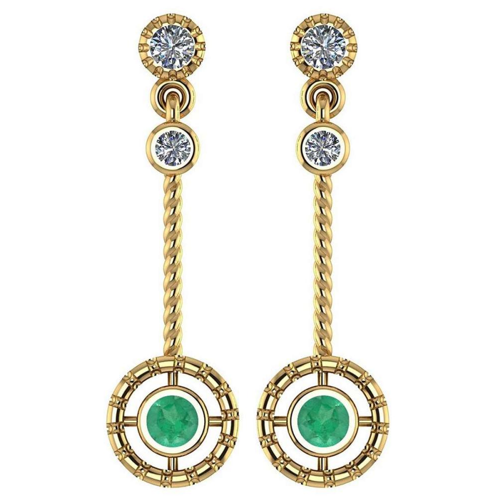 Certified 0.31 Ctw Emerald And Diamond Wedding/Engagement Style 14K Yellow Gold Drop Earrings #1AC17430