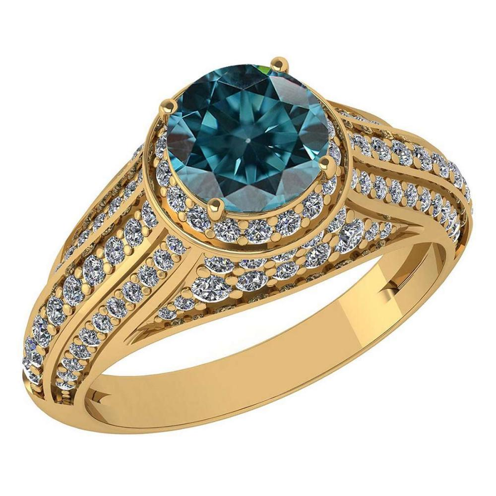 Certified 2.30 Ctw Treated Fancy Blue Diamond And White G-H Diamond Wedding/Engagement 14K Yellow Gold Halo Ring #1AC17257