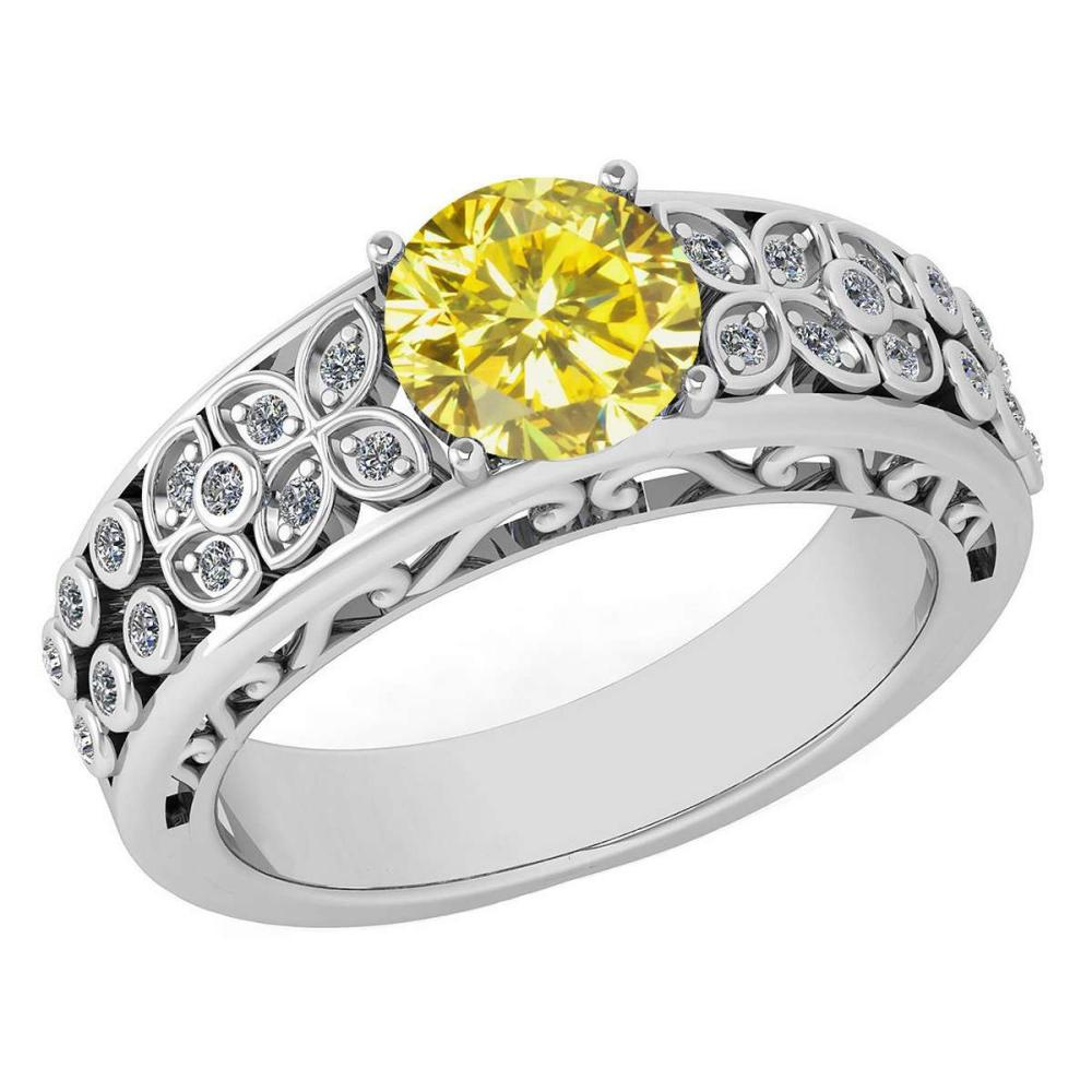 Certified 1.42 Ctw Treated Fancy Yellow Diamond And White G-H Diamond Wedding/Engagement 14K White Gold Halo Ring (SI2/I1) #1AC17728