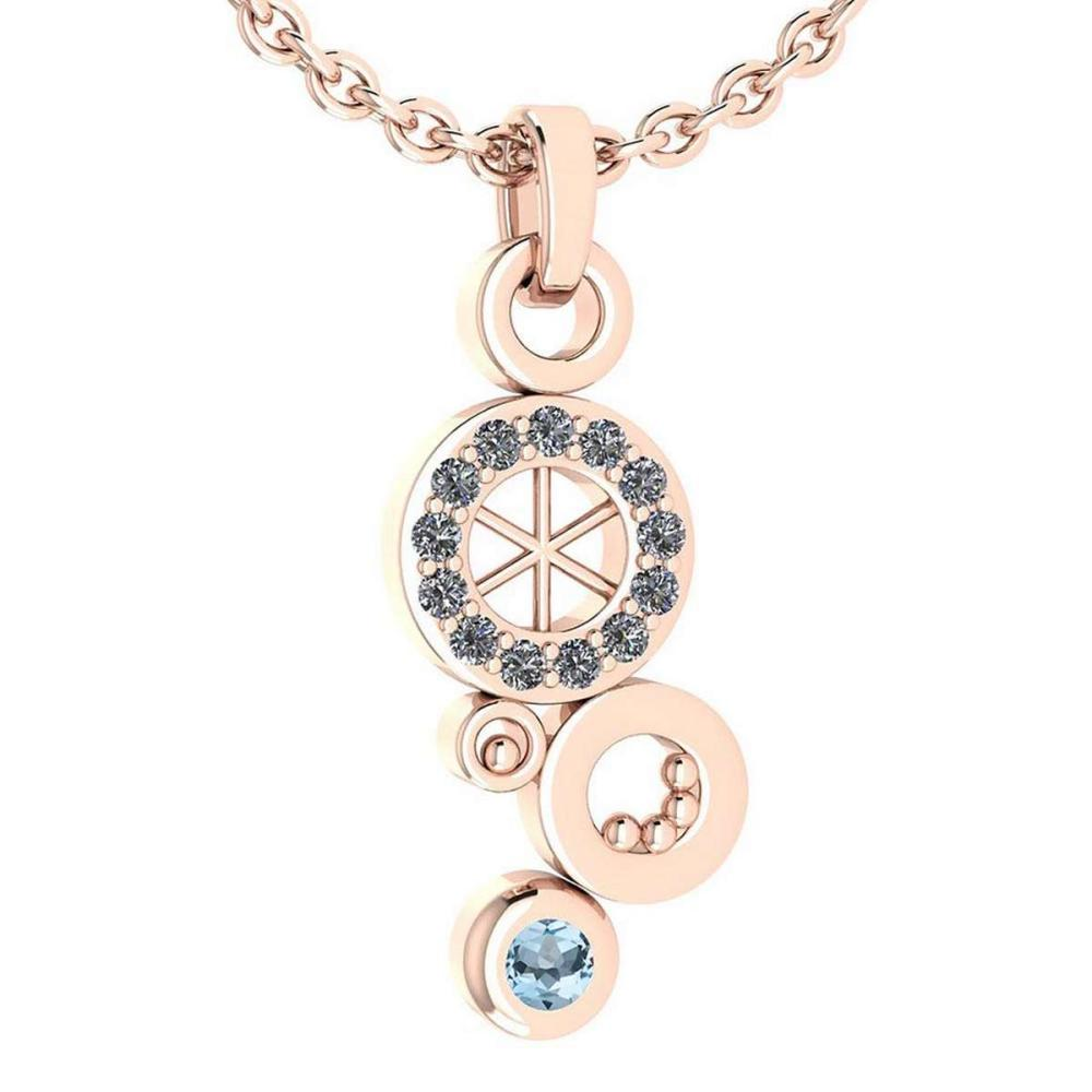 Certified 0.26 Ctw Aquamarine And Diamond Octopus Styles Pendant For womens New Expressions nautical collection 14K Rose Gold #1AC17208