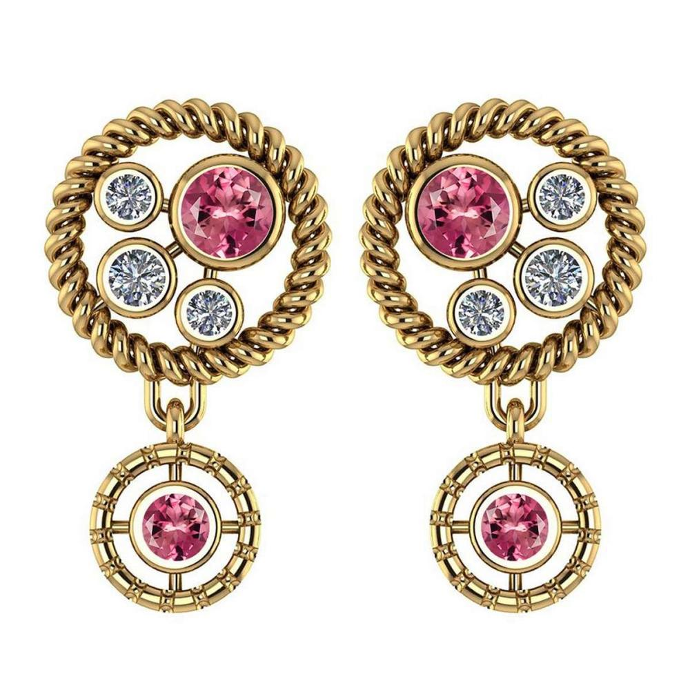 Certified 0.84 Ctw Pink Tourmaline And Diamond Wedding/Engagement Style Stud Earrings 14K Yellow Gold #1AC17337