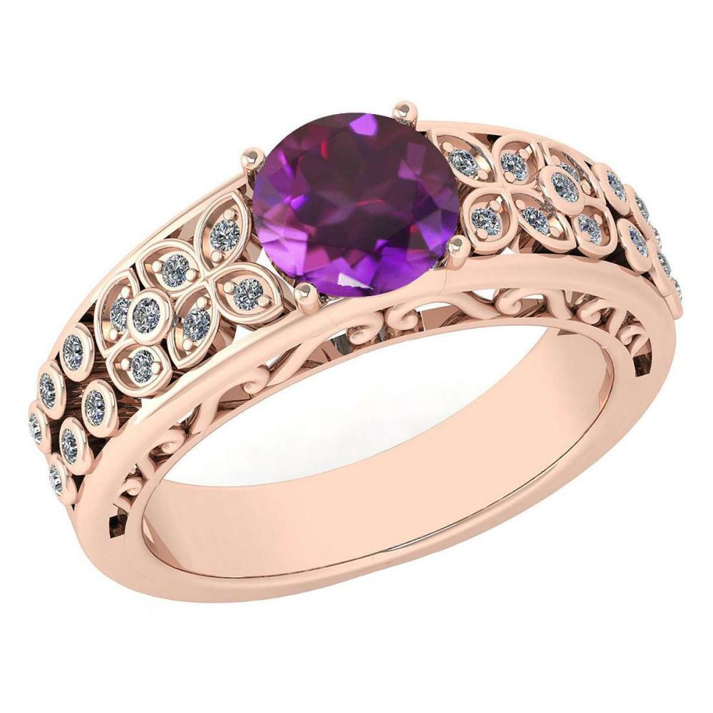 Certified 1.42 Ctw Amethyst And Diamond Wedding/Engagement 14K Rose Gold Halo Ring (VS/SI1) #1AC17746