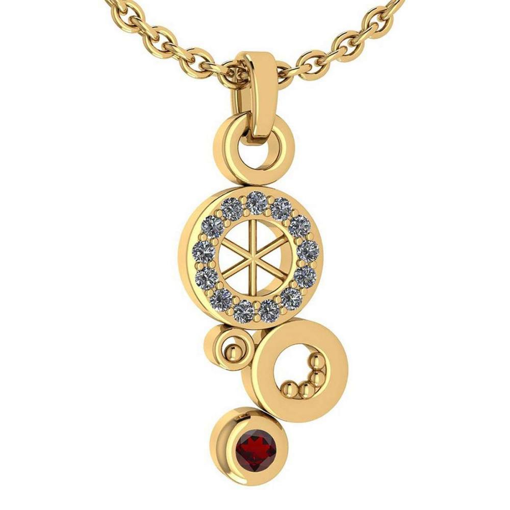 Certified 0.26 Ctw Garnet And Diamond Octopus Styles Pendant For womens New Expressions nautical collection 14K Yellow Gold #1AC17452