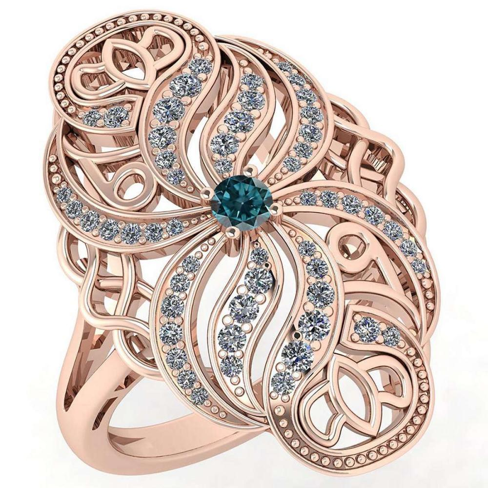 Certified 0.59 Ctw Treated Fancy Blue Diamond And White Diamond Wedding/Engagement 14K Rose Gold Halo Ring #1AC17191
