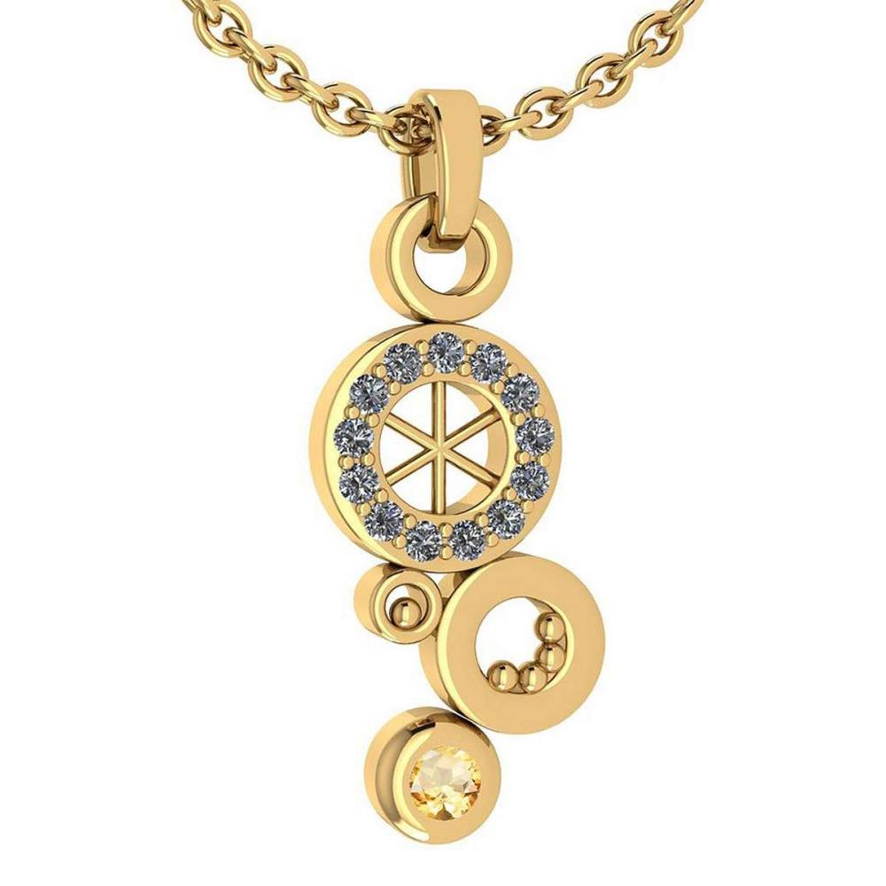 Certified 0.26 Ctw Citrine And Diamond Octopus Styles Pendant For womens New Expressions nautical collection 14K Yellow Gold #1AC17451