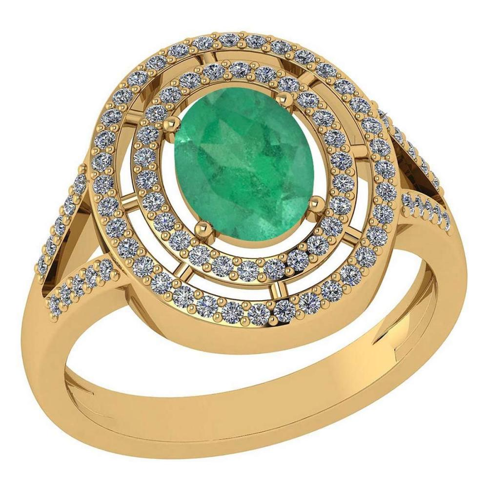 Certified 1.66 Ctw Emerald And Diamond 14k Yellow Gold Halo Ring #1AC97913
