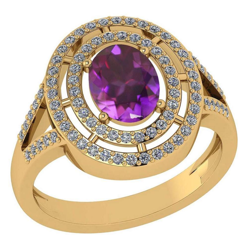 Certified 1.66 Ctw Amethyst And Diamond 14k Yellow Gold Halo Ring #1AC97918