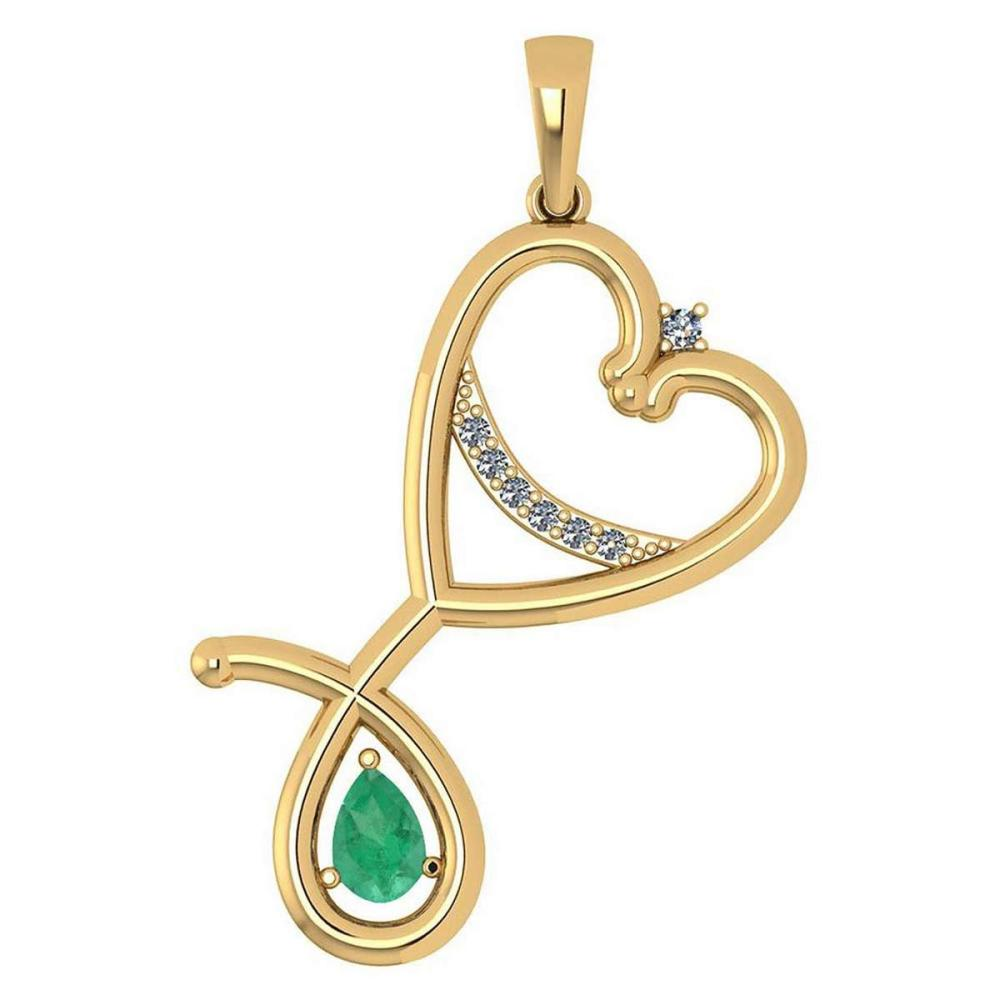 Certified 0.60 Ctw Emerald And Diamond Pendant For womens New Expressions Love collection 14K Yellow Gold #1AC17445
