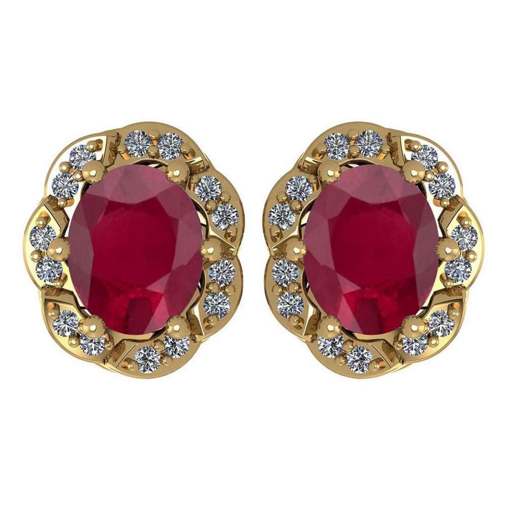 Certified 0.88 Ctw Ruby And Diamond 14K Yellow Gold Stud Earrings #1AC17310