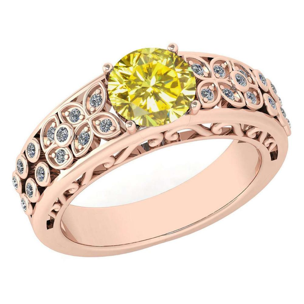 Certified 1.42 CtwTreated Fancy Yellow Diamond And White G-H Diamond Wedding/Engagement 14K Rose Gold Halo Ring (SI2/I1) #1AC17804