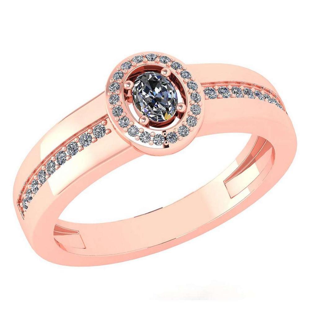 Certified 0.35 Ctw Diamond 14K Rose Gold Halo Ring #1AC16994