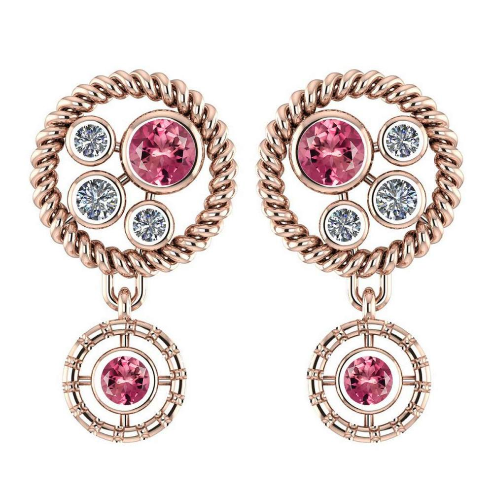 Certified 0.84 Ctw Pink Tourmaline And Diamond Wedding/Engagement Style Stud Earrings 14K Rose Gold (VS/SI1) #1AC17730
