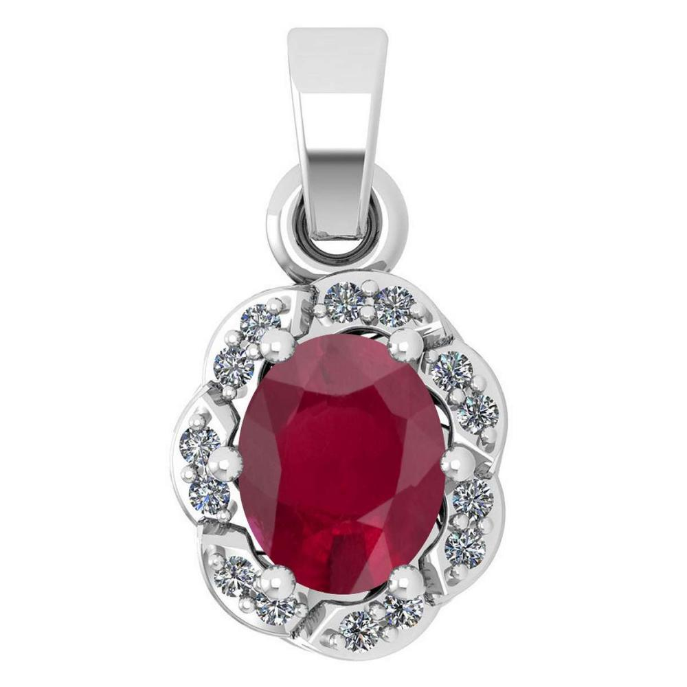 Certified 0.38 Ctw Ruby And Diamond 14k White Gold Simple Pendant (SI2/I1) #1AC17773