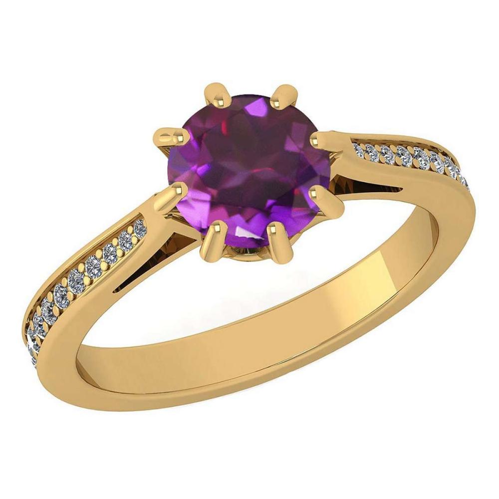 Certified 1.14 Ctw Amethyst And White Diamond Wedding/Engagement 14K Yellow Gold Halo Ring #1AC17109