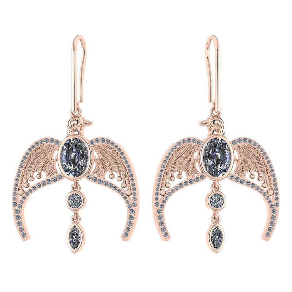 Certified 3.46 Ctw Diamond Eagle Earrings For womens New Expressions of Love collection 14K Rose Gold #1AC17239