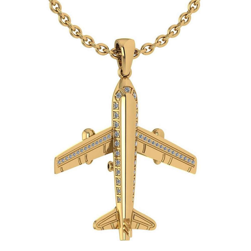 Certified 0.26 Ctw Diamond Nekless For womens New Expressions Airplane collection 14K Yellow Gold (SI2/I1) #1AC16898