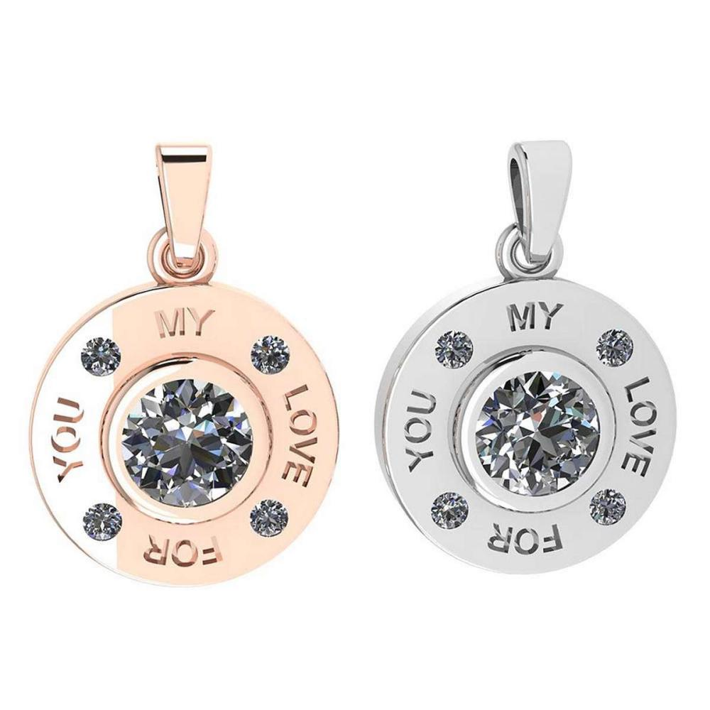 Certified 0.53 Ctw Diamond Nekless For Couples New Expressions of Love collection 14K Rose And White Gold (SI2/I1) #1AC16879