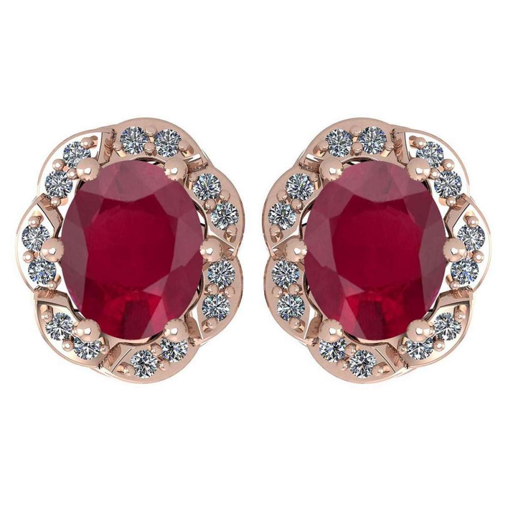 Certified 0.88 Ctw Ruby And Diamond 14K Rose Gold Stud Earrings #1AC17305