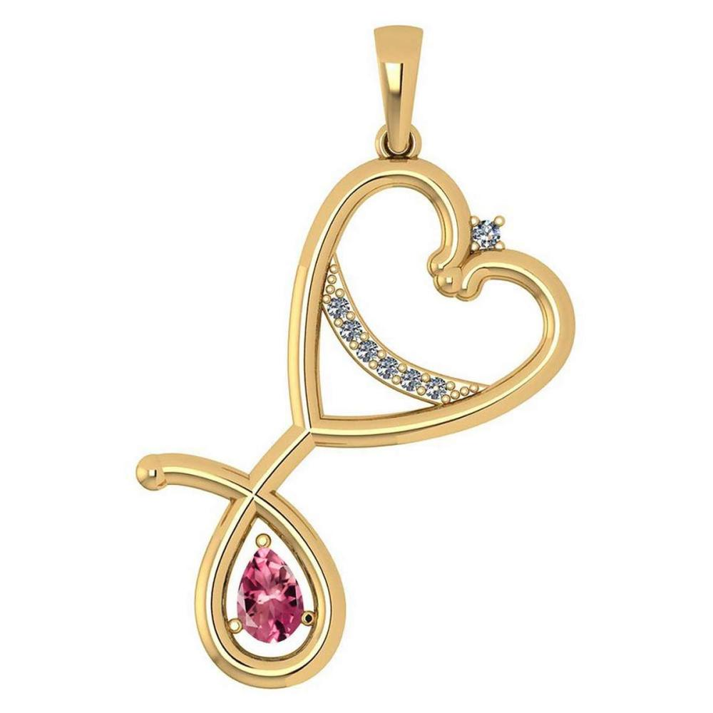 Certified 0.60 Ctw Pink Tourmaline And Diamond Pendant For womens New Expressions Love collection 14K Yellow Gold #1AC17444
