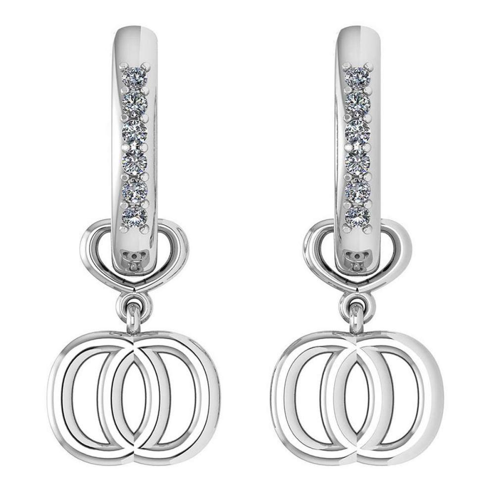 Certified 0.16 Ctw Diamond Alphabet O Earrings For womens New Expressions of Love collection 14K White Gold (SI2/I1) #1AC16865