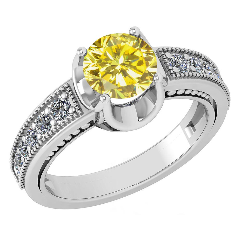 Certified 1.48 Ctw Treated Fancy Yellow Diamond And Diamond Wedding/Engagement Style 14k White Gold Halo Rings #1AC17601