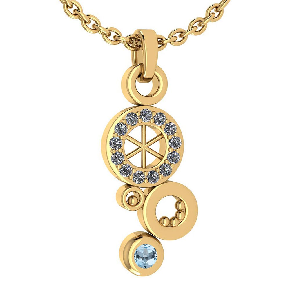 Certified 0.26 Ctw Aquamarine And Diamond Octopus Styles Pendant For womens New Expressions nautical collection 14K Yellow Gold #1AC17564