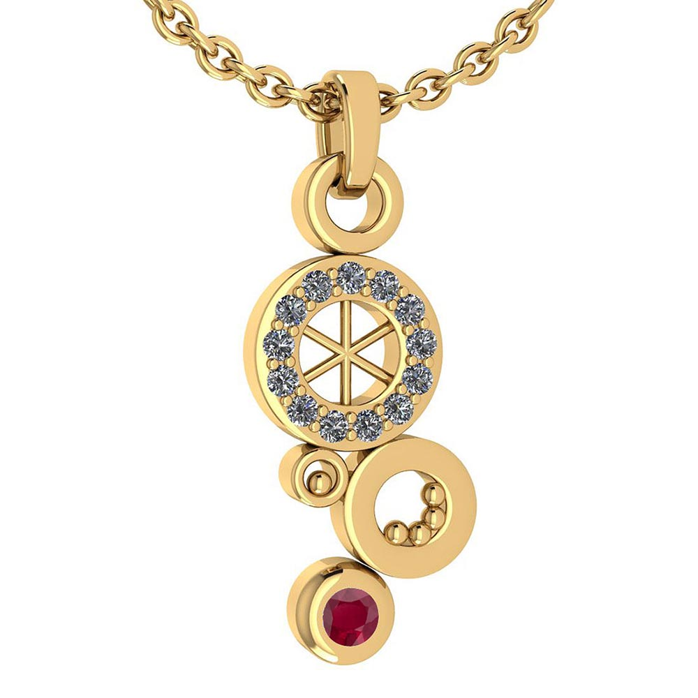 Certified 0.26 Ctw Ruby And Diamond Octopus Styles Pendant For womens New Expressions nautical collection 14K Yellow Gold #1AC17562